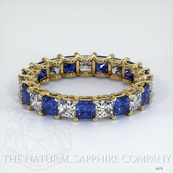 Princess Cut Loop Blue Sapphire And Diamond Eternity Wedding Band JB278 Image