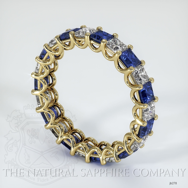 Princess Cut Loop Blue Sapphire And Diamond Eternity Wedding Band JB278 Image 2