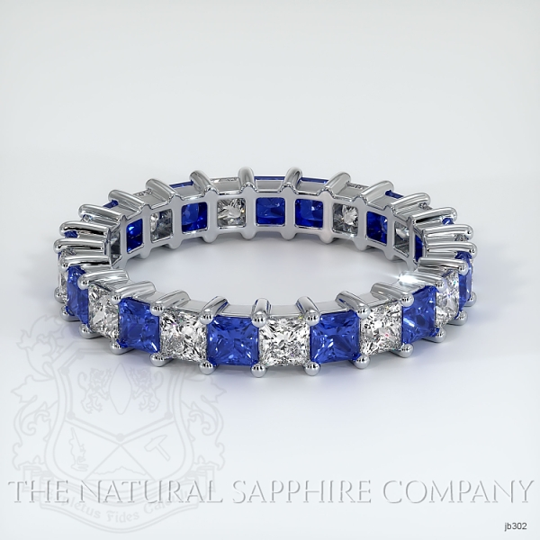 Princess Cut Prong Set Blue Sapphire And Diamond Eternity Band JB302 Image