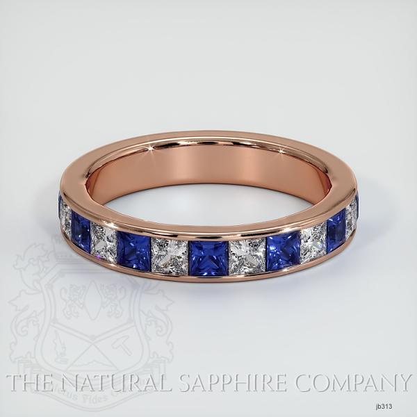 Princess Cut Channel Set Blue Sapphire And Diamond Wedding Band JB313 Image