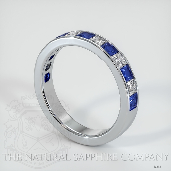 Princess Cut Channel Set Blue Sapphire And Diamond Wedding Band JB313 Image 2