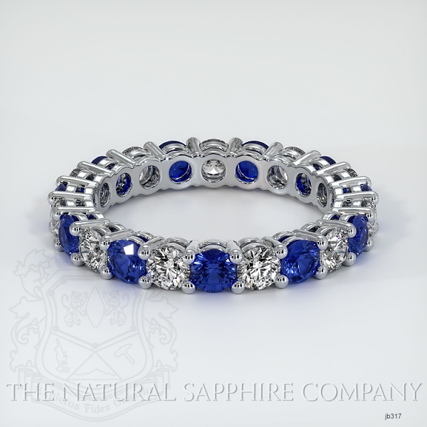 Prong Set Blue Sapphire And Diamond Eternity Wedding Band JB317 Image