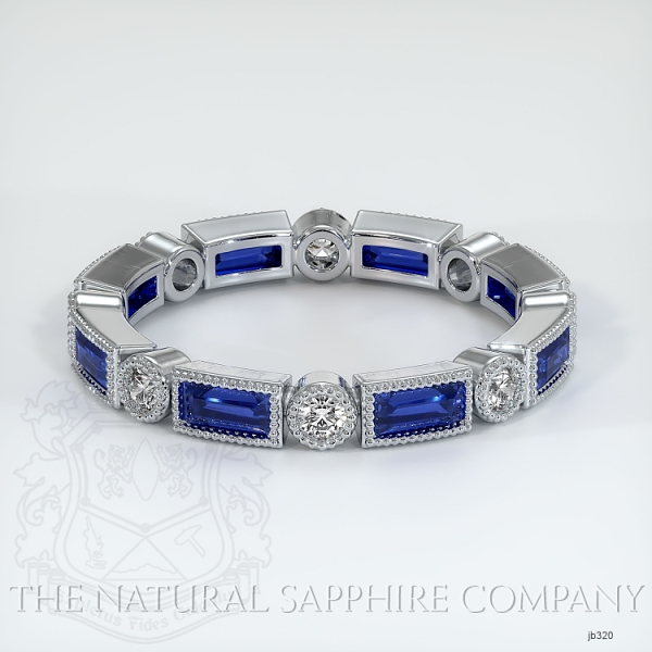 Round/Princess Cut Milgrain Blue Sapphire And Diamond Wedding Band JB320 Image