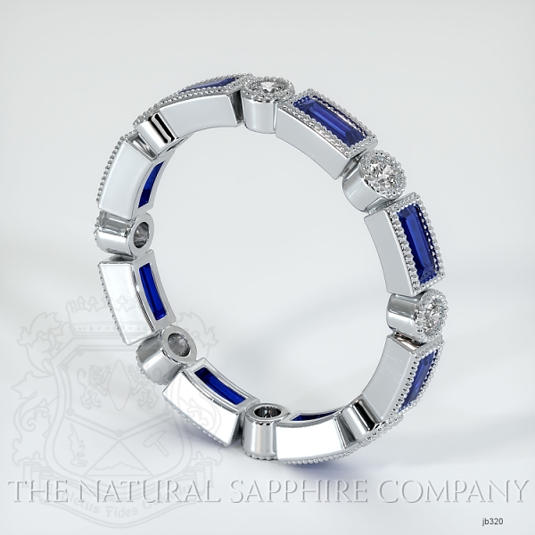 Round/Princess Cut Milgrain Blue Sapphire And Diamond Wedding Band JB320 Image 2