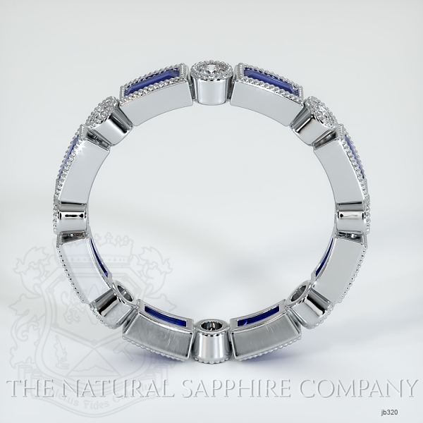 Round/Princess Cut Milgrain Blue Sapphire And Diamond Wedding Band JB320 Image 3