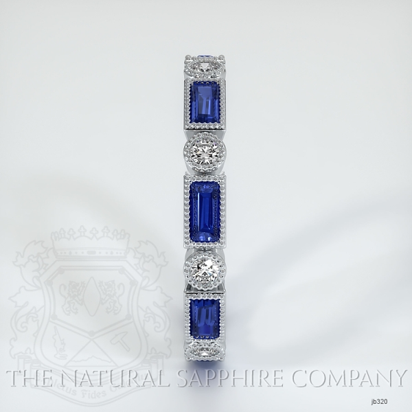 Round/Princess Cut Milgrain Blue Sapphire And Diamond Wedding Band JB320 Image 4