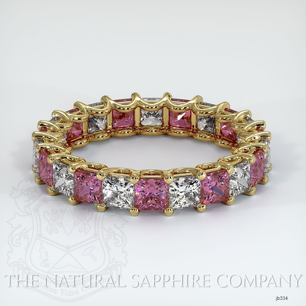 Princess Cut Loop Pink Sapphire And Diamond  Eternity Wedding Band JB334 Image