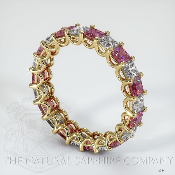 Princess Cut Loop Pink Sapphire And Diamond  Eternity Wedding Band JB334 Image 2