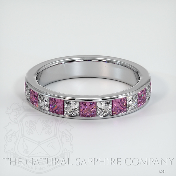 Princess Cut Channel Set  Pink Sapphire And Diamond Wedding Band JB351 Image