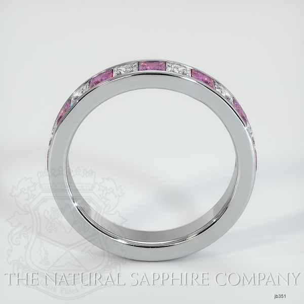 Princess Cut Channel Set  Pink Sapphire And Diamond Wedding Band JB351 Image 3