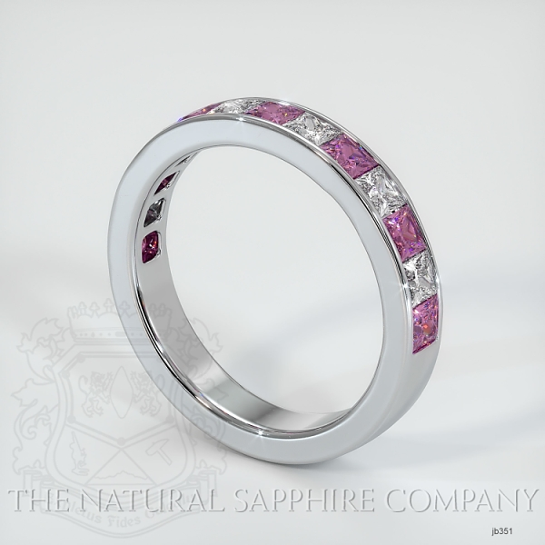Princess Cut Channel Set  Pink Sapphire And Diamond Wedding Band JB351 Image 2