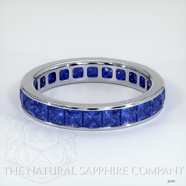 Princess Cut Channel Set Blue Sapphire Eternity Wedding Band JB356 Image