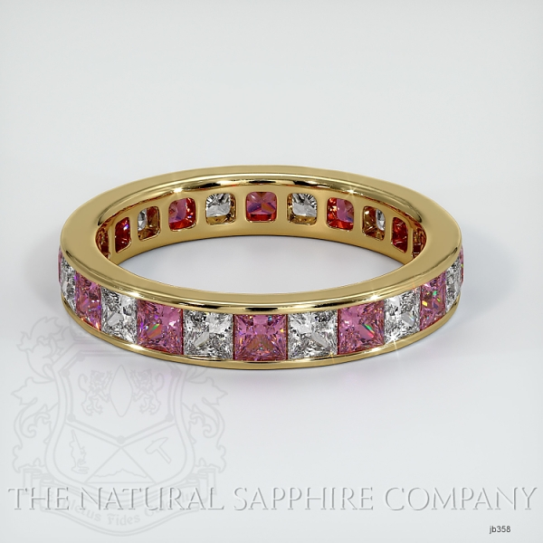Princess Cut Channel Set  Pink Sapphire And Diamond Eternity  Wedding Band JB358 Image