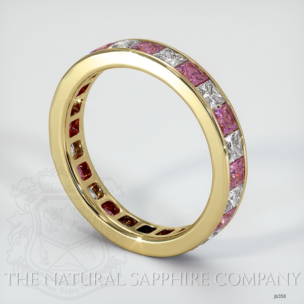 Princess Cut Channel Set  Pink Sapphire And Diamond Eternity  Wedding Band JB358 Image 2