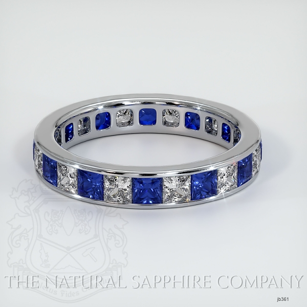 Princess Cut Channel Set Blue Sapphire And Diamond Eternity  Wedding Band JB361 Image