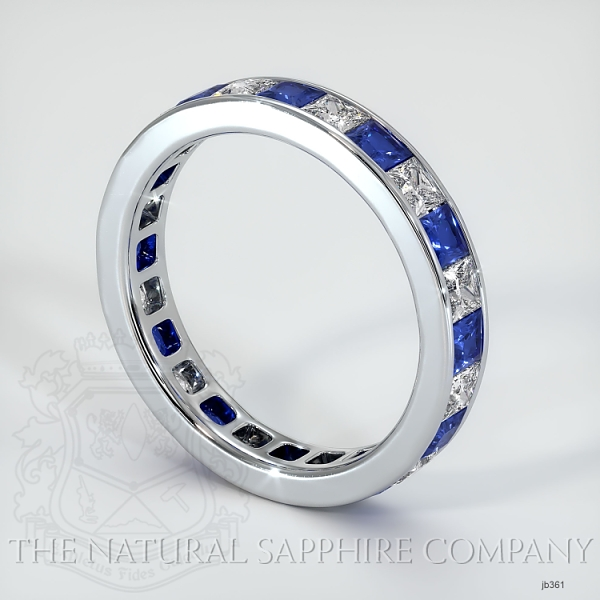 Princess Cut Channel Set Blue Sapphire And Diamond Eternity  Wedding Band JB361 Image 2