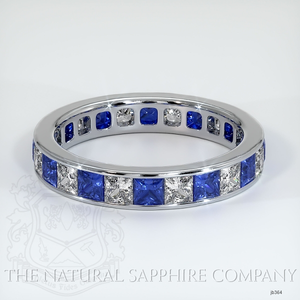Princess Cut Channel Set Blue And White Sapphire Eternity  Wedding Band JB364 Image
