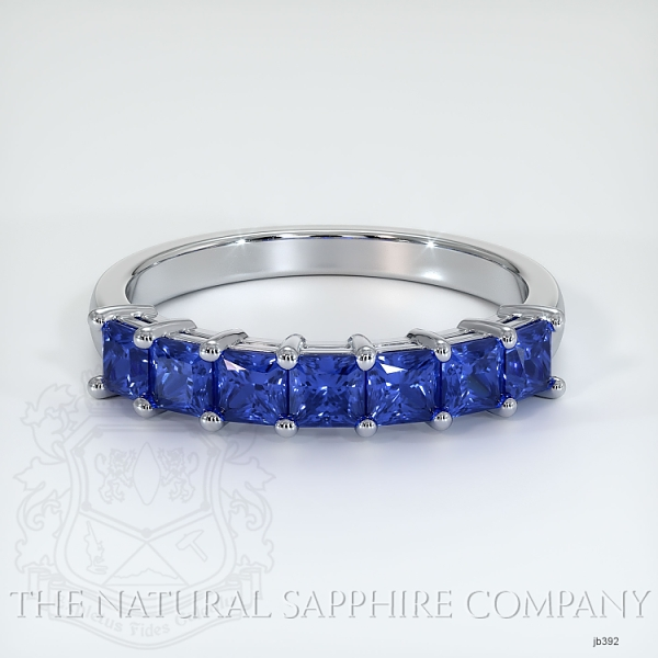 7 Stone Princess Cut Blue Sapphire Wedding Band JB392 Image