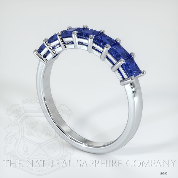 7 Stone Princess Cut Blue Sapphire Wedding Band JB392 Image 2