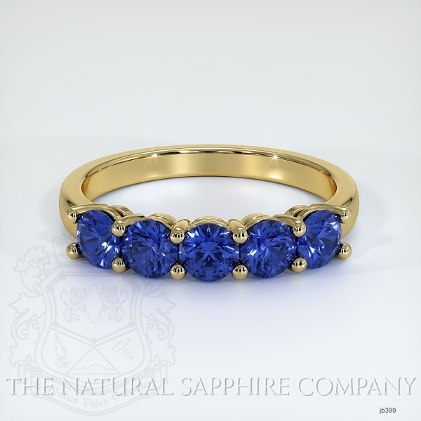 5 Stone Prong Set Blue Sapphire Wedding Band JB399 Image