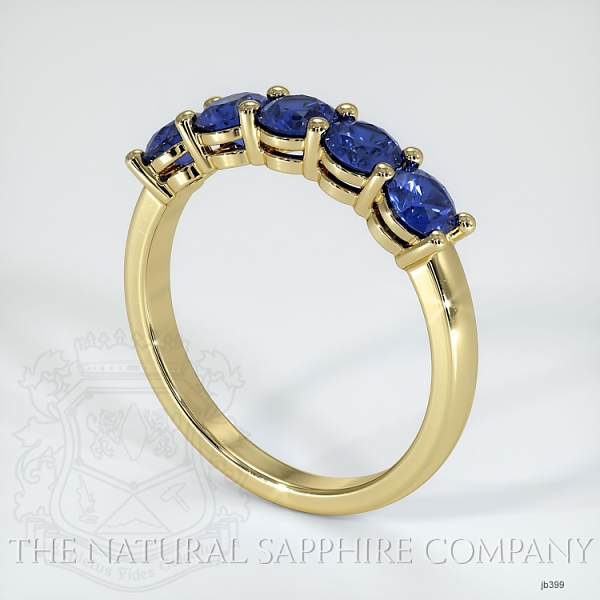 5 Stone Prong Set Blue Sapphire Wedding Band JB399 Image 2