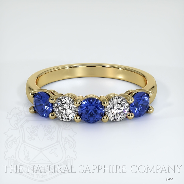 5 Stone Prong Set Blue Sapphire And Diamond Wedding Band JB400 Image