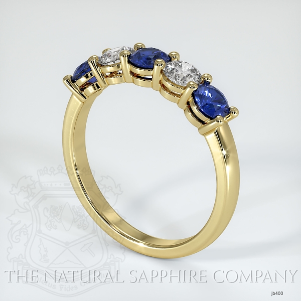 5 Stone Prong Set Blue Sapphire And Diamond Wedding Band JB400 Image 2