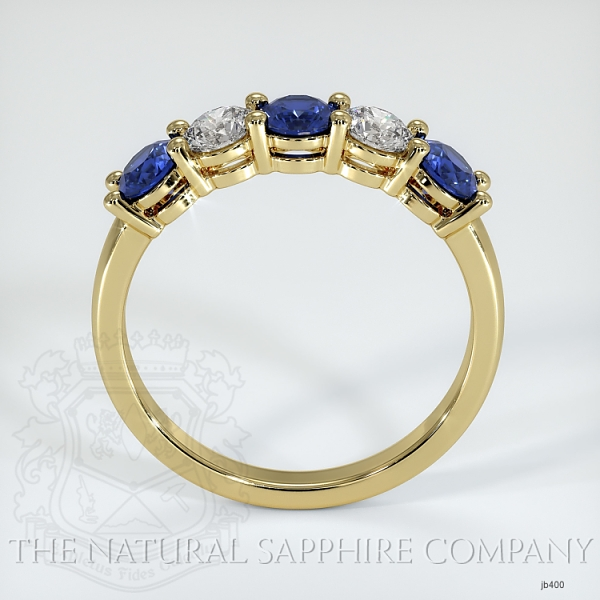 5 Stone Prong Set Blue Sapphire And Diamond Wedding Band JB400 Image 3
