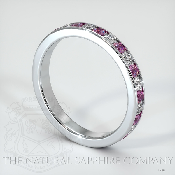 Channel Set Pink Sapphire And Diamond Eternity Wedding Band JB418 Image 2