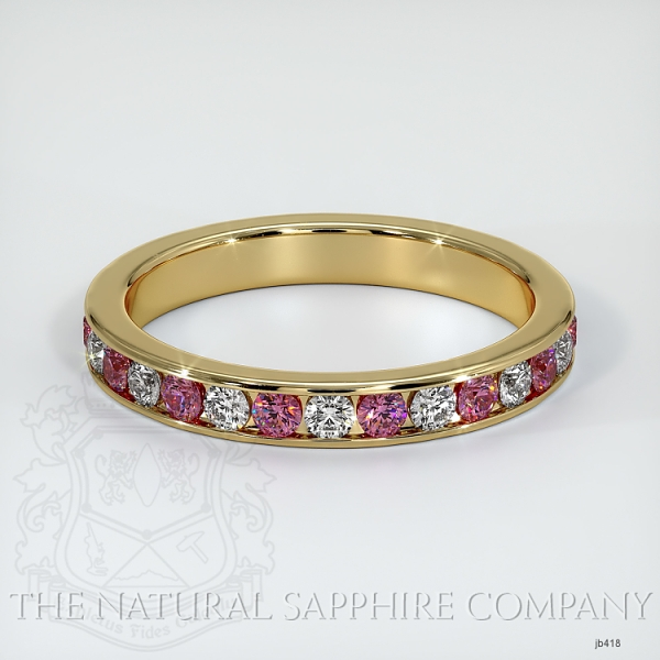 Channel Set Pink Sapphire And Diamond Eternity Wedding Band JB418 Image