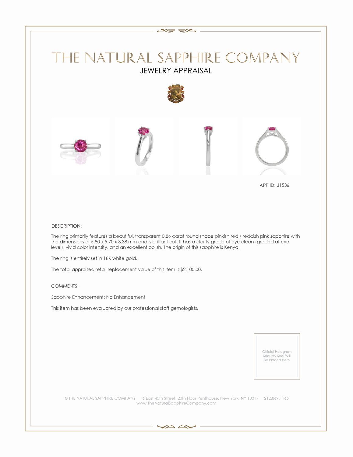 0.86ct Ruby Ring Certification 3