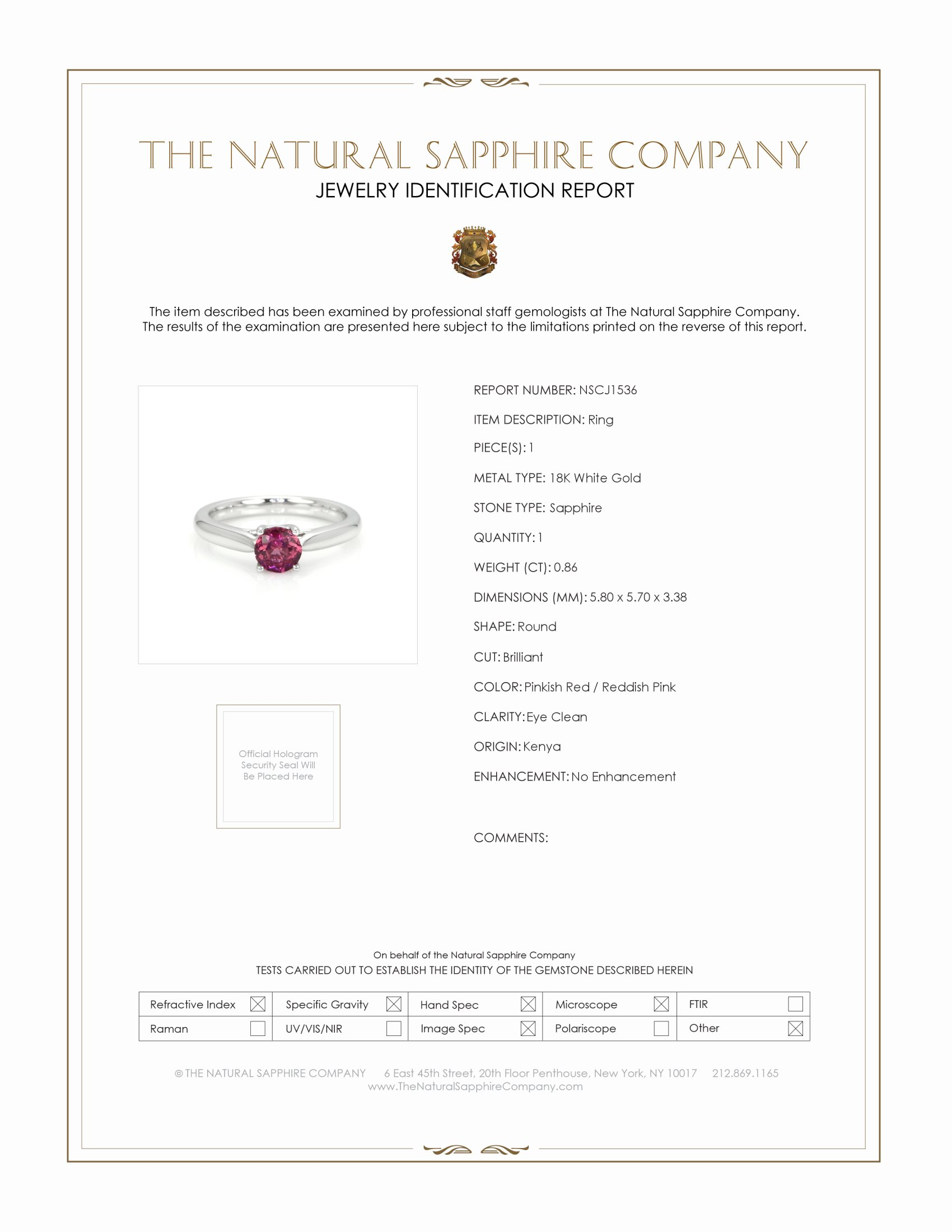 0.86ct Ruby Ring Certification