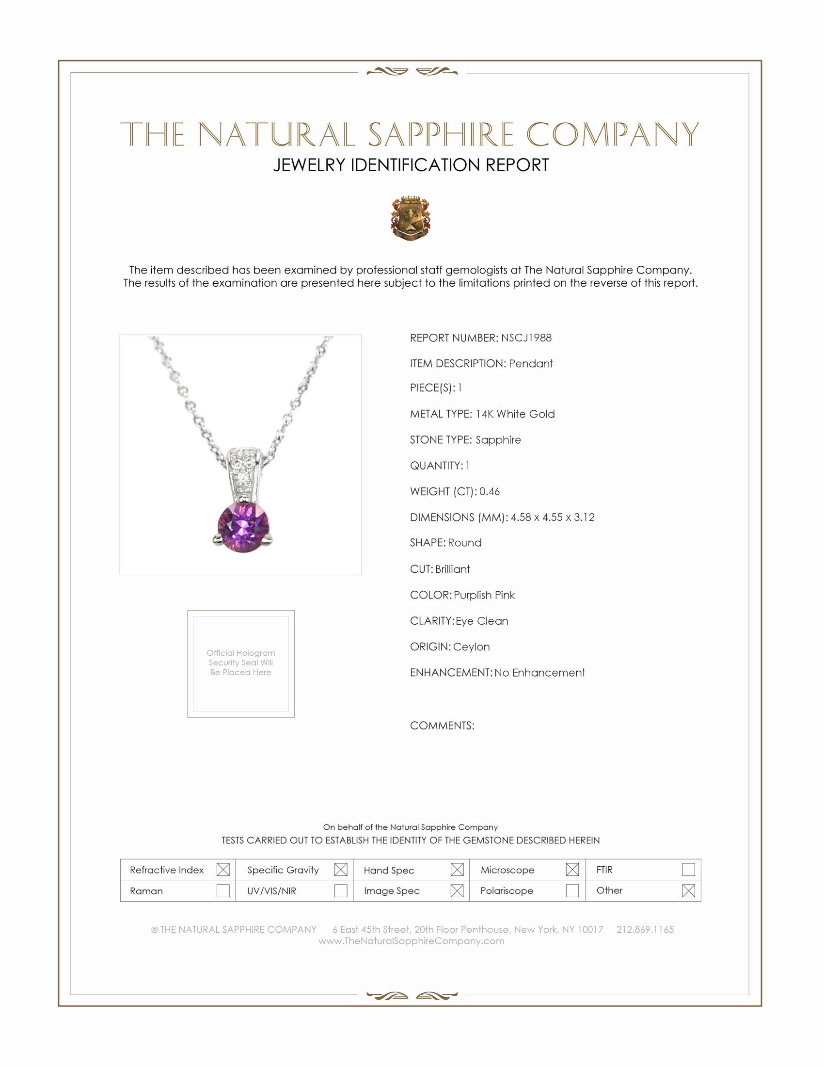 0.46ct Purplish Pink Sapphire Pendant Certification
