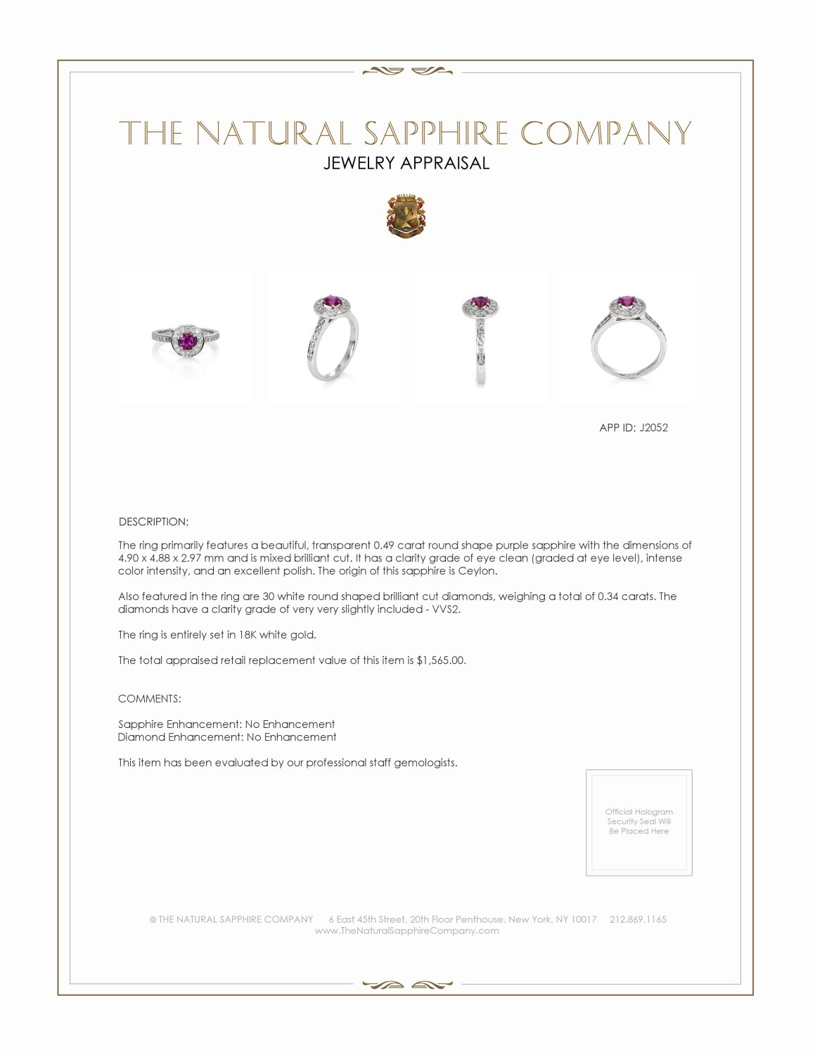 0.49ct Purple Sapphire Ring Certification 2