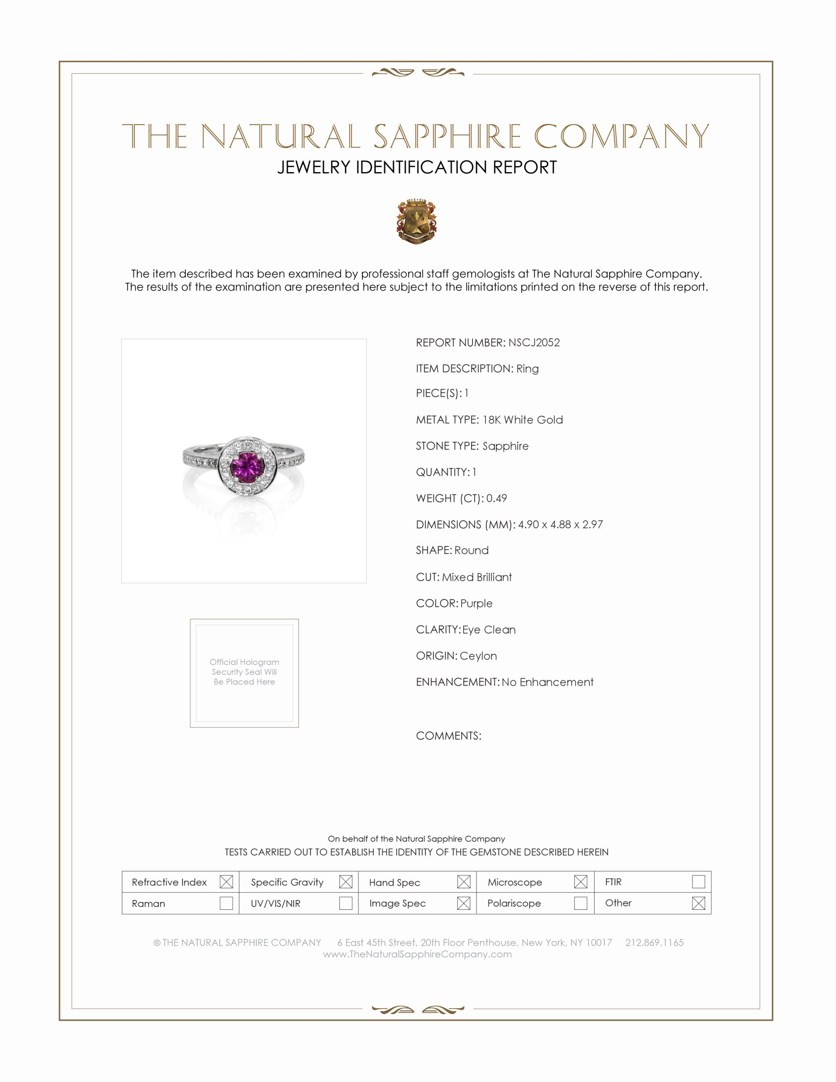 0.49ct Purple Sapphire Ring Certification