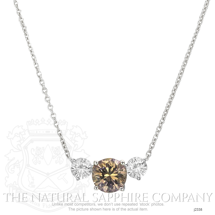 0.96ct Orange Sapphire Necklace Image 2