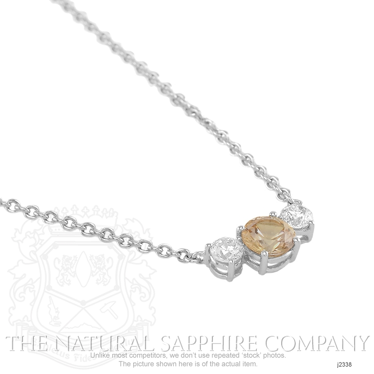 0.96ct Orange Sapphire Necklace Image 3