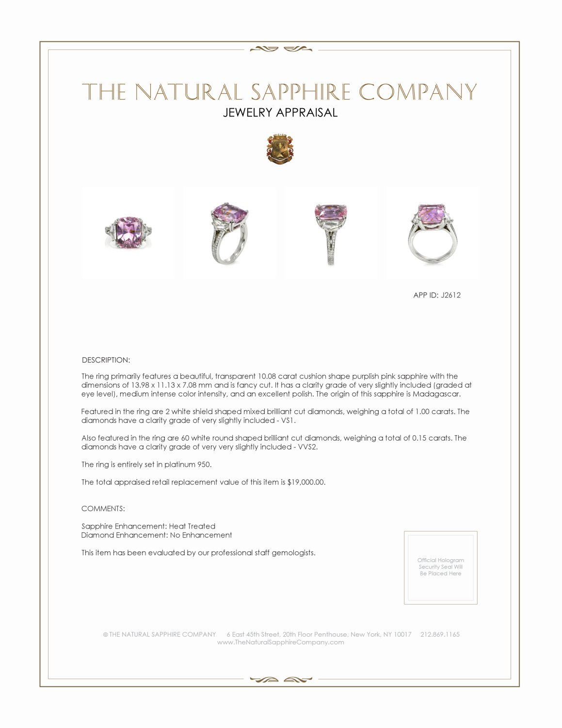 10.08ct Purplish Pink Sapphire Ring Certification