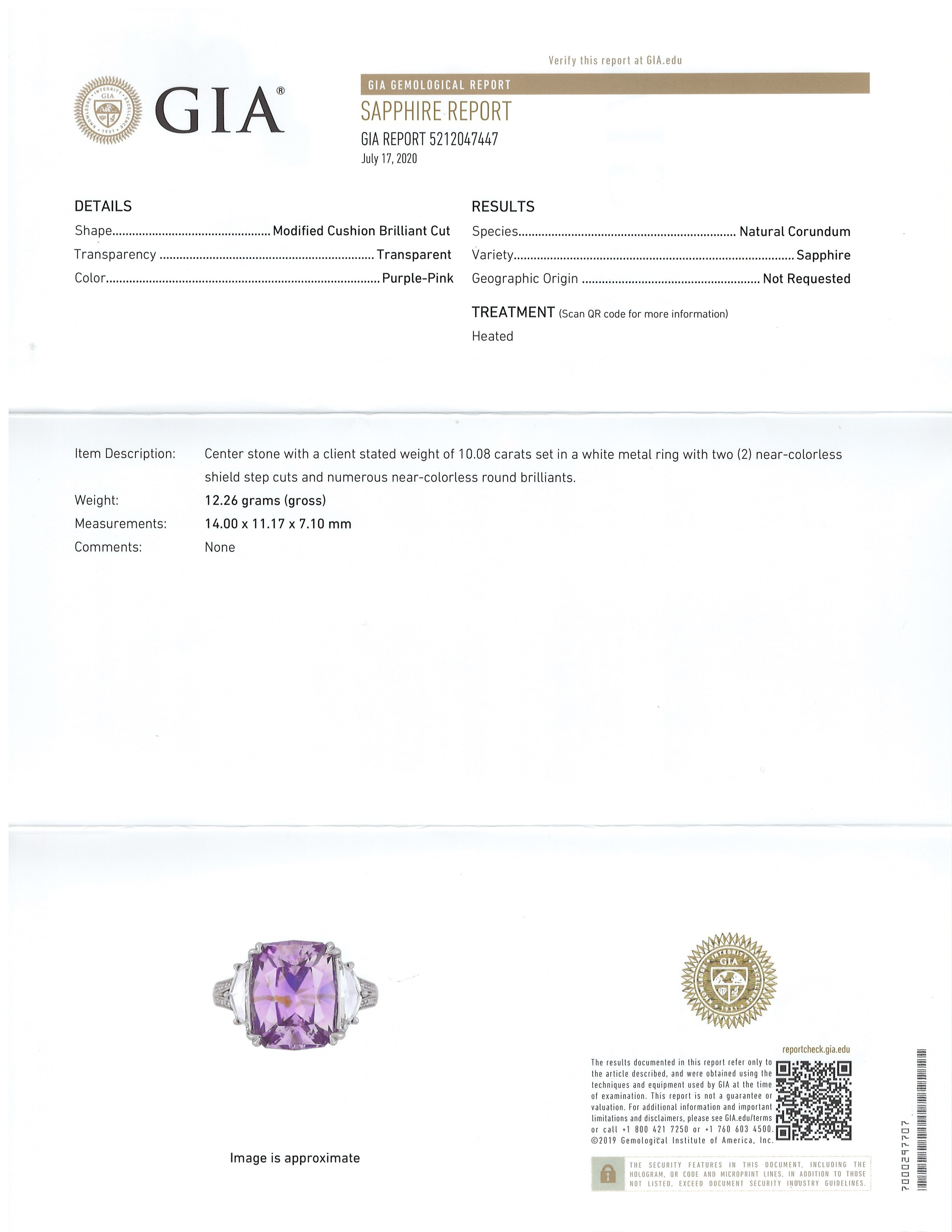 10.08ct Purplish Pink Sapphire Ring Certification 3