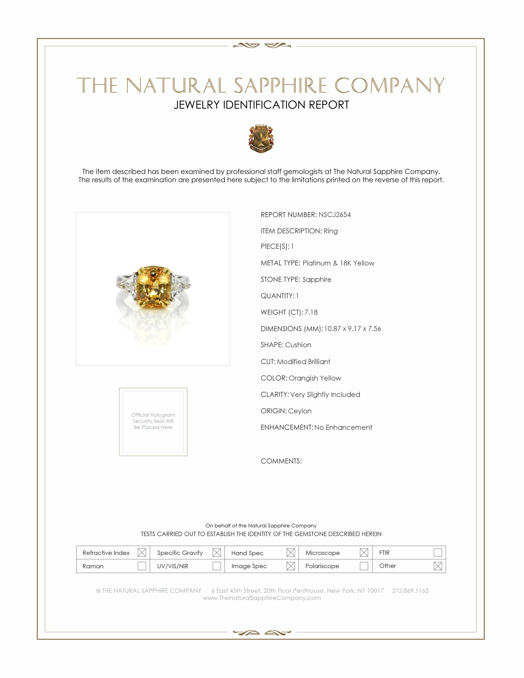 7.18ct Orangish Yellow Sapphire Ring Certification
