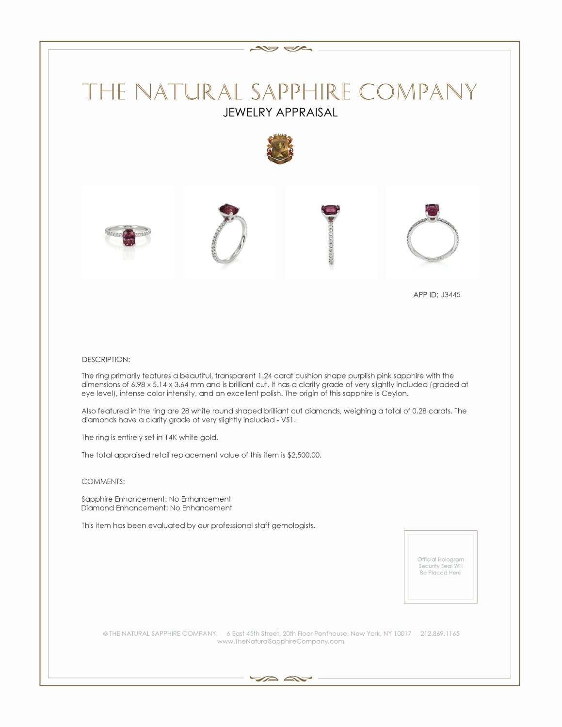 1.24ct Purplish Pink Sapphire Ring Certification