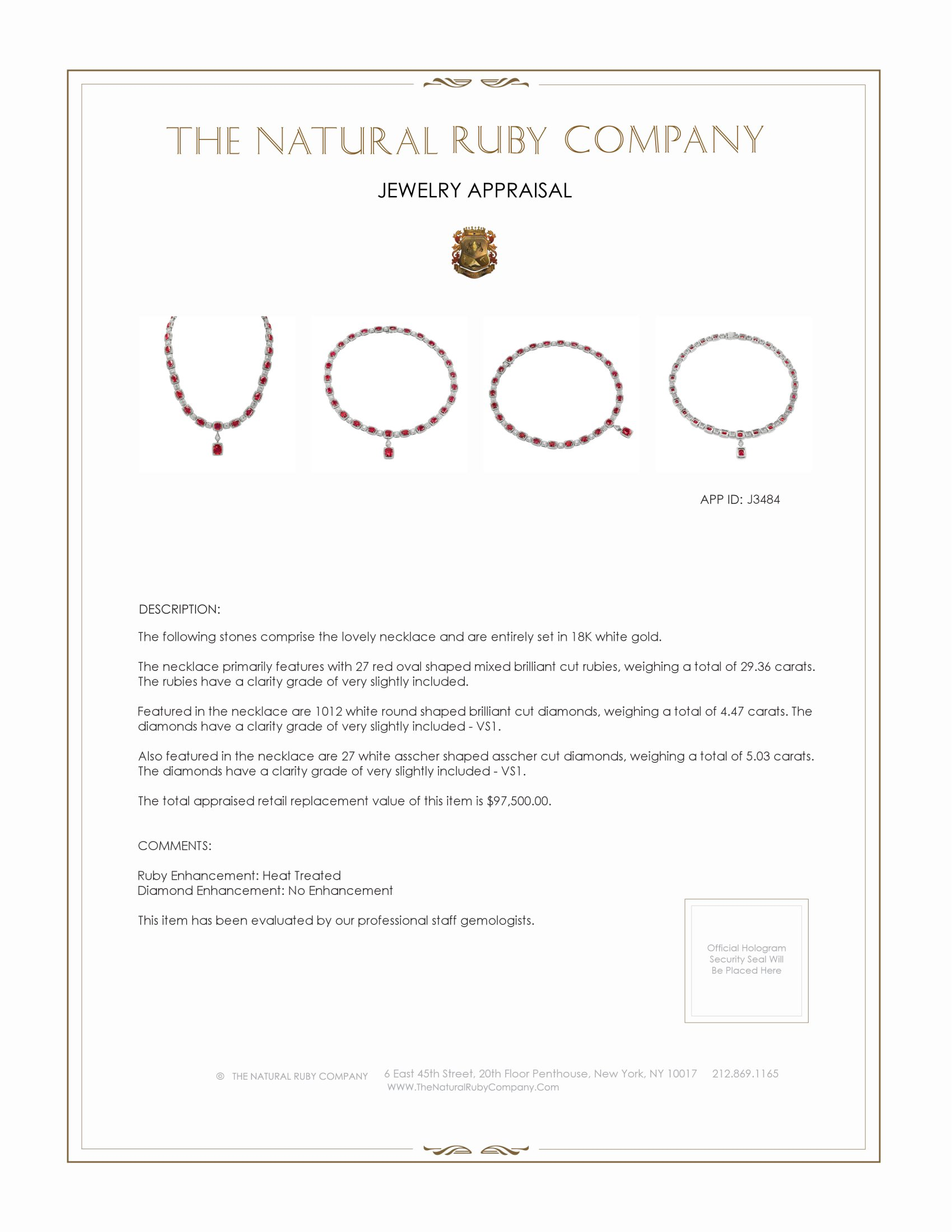29.36ct Ruby Necklace Certification 2
