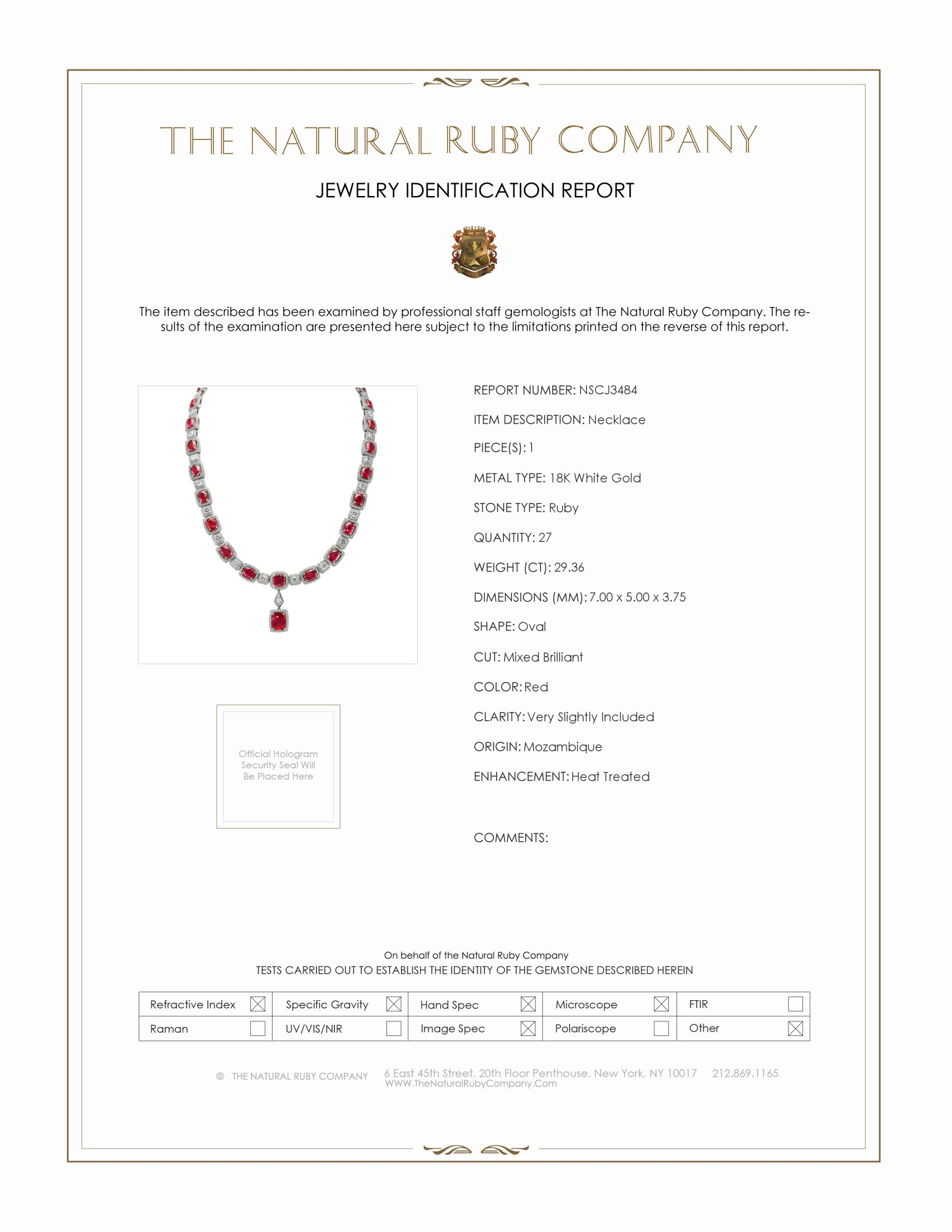 29.36ct Ruby Necklace Certification