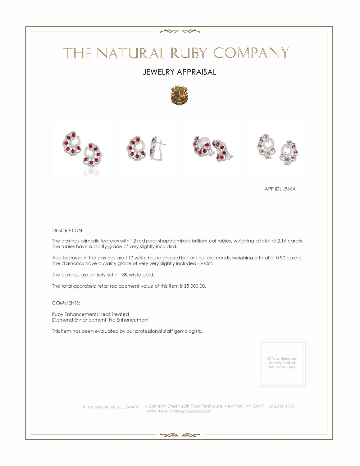2.16ct Ruby Earring Certification 2