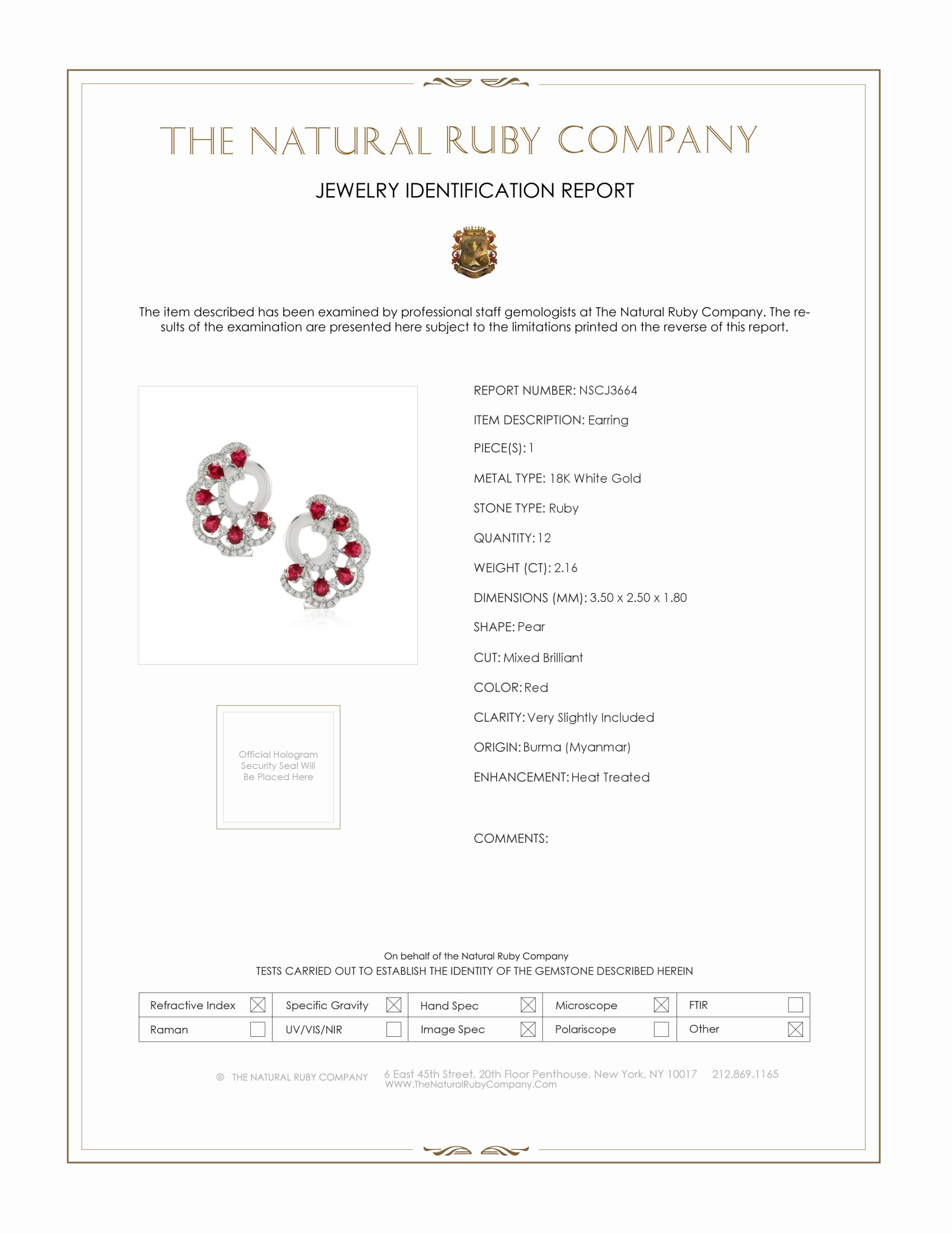 2.16ct Ruby Earring Certification