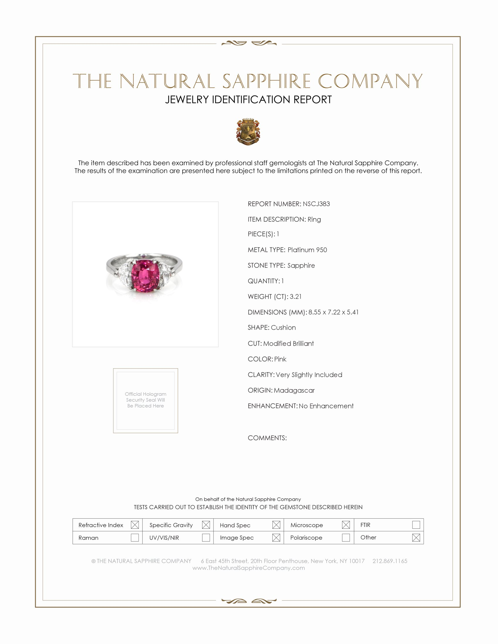 3.21ct Pink Sapphire Ring Certification