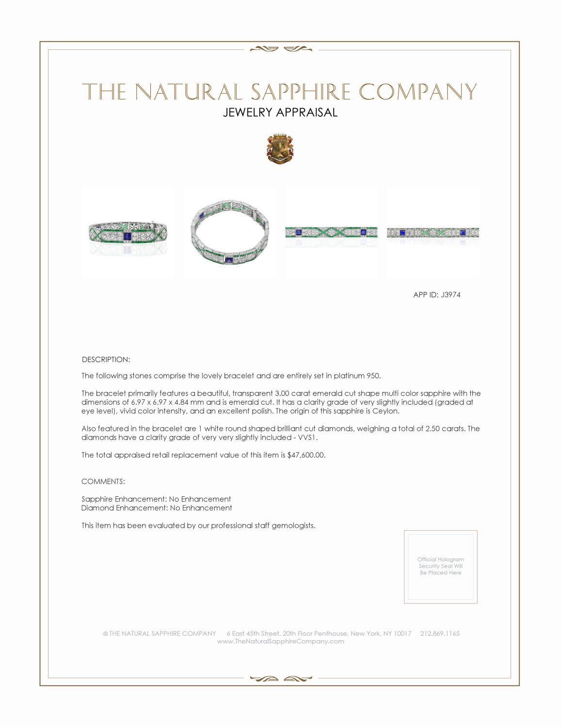 3.00ct Multi Color Sapphire Bracelet Certification