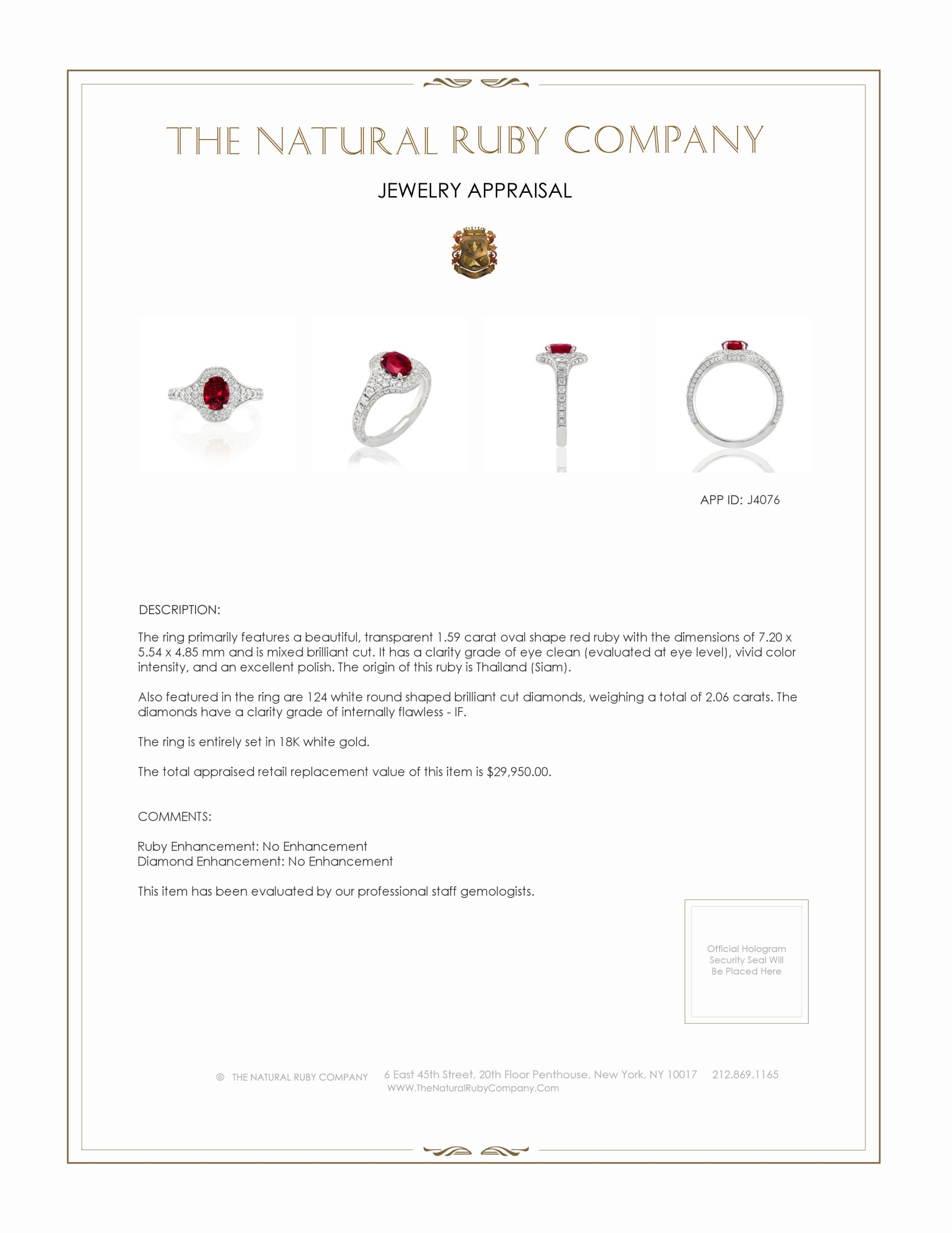1.59ct Ruby Ring Certification 3