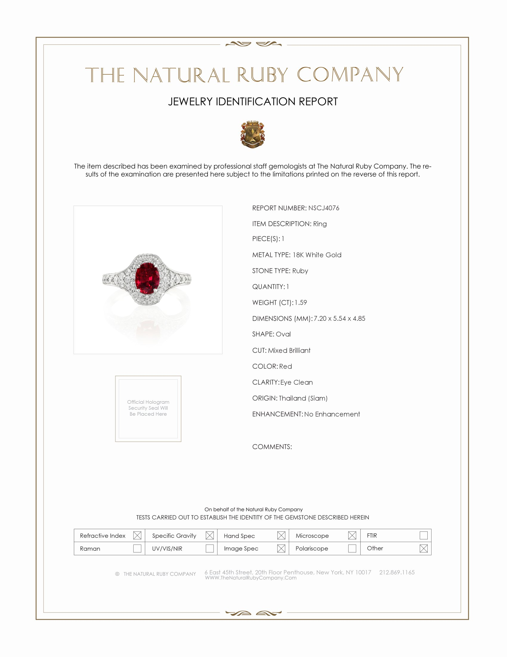 1.59ct Ruby Ring Certification