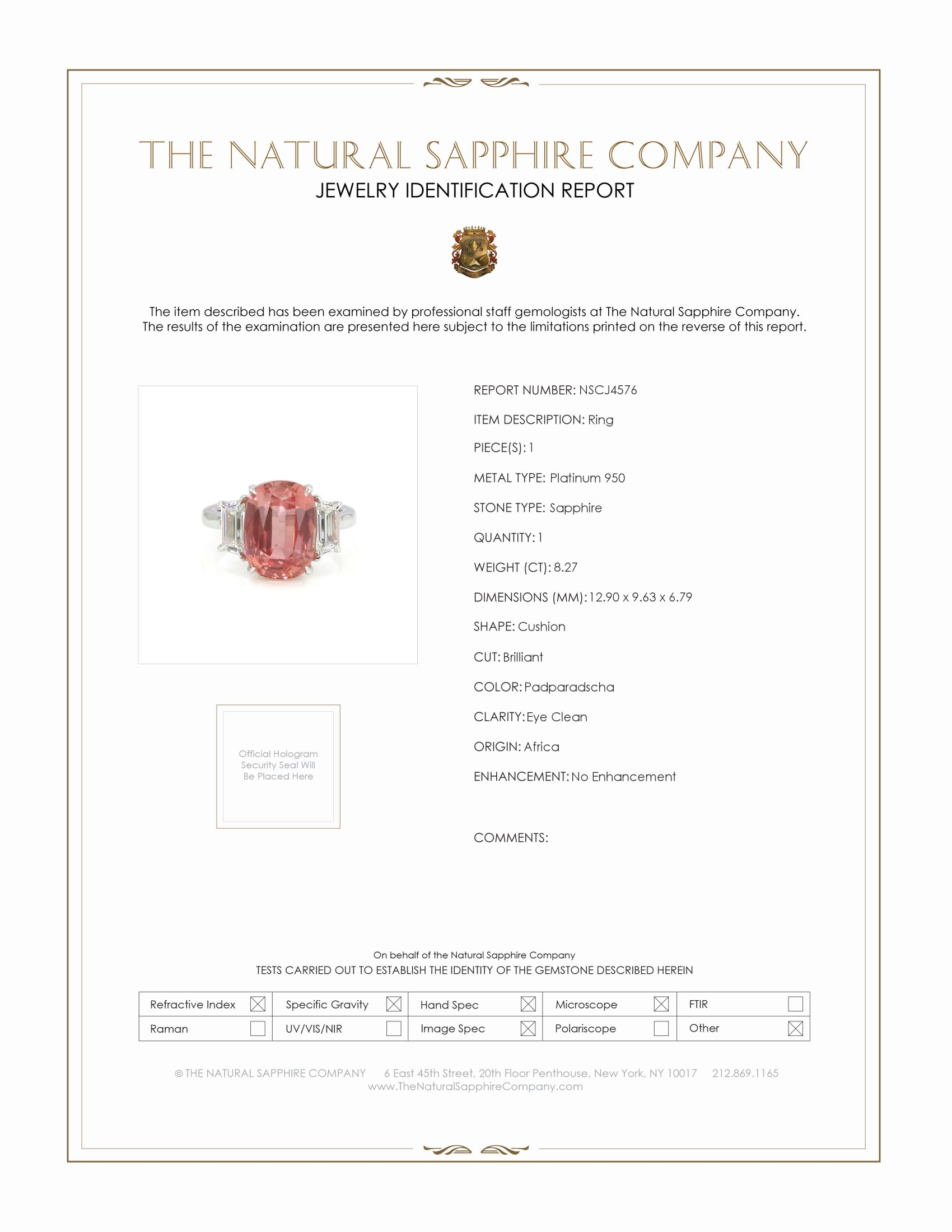 8.27ct Padparadscha Sapphire Ring Certification
